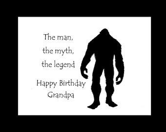 Happy Birthday Grandpa Card Grandfather Funny Humorous Cards Bigfoot