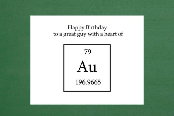 Happy Birthday Science Chemistry Card Periodic Table Of Etsy