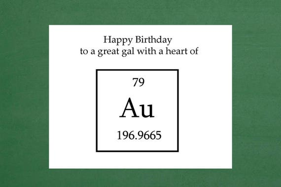 Heart Of Gold Birthday Cards Science Happy Birthday Cards Etsy