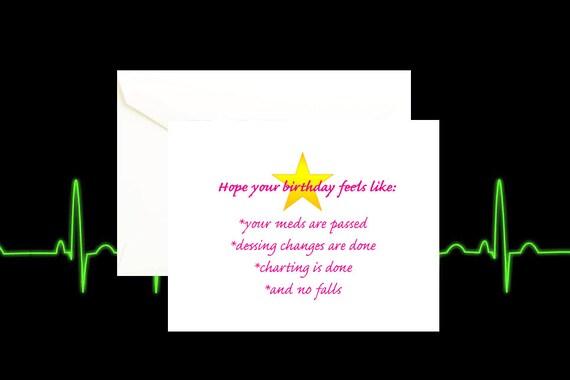 Nursing Card Nurse Birthday Nurse Birthday Card Nurse Etsy