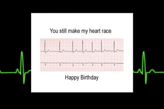 Happy Birthday Card Rn Birthday Nurse Birthday Heartbeat Etsy