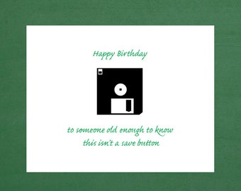 happy birthday, vinage birthday card, floppy disk, computer diskettes, floppy disk card, happy 50th birthday, computer birthday, happy 45th