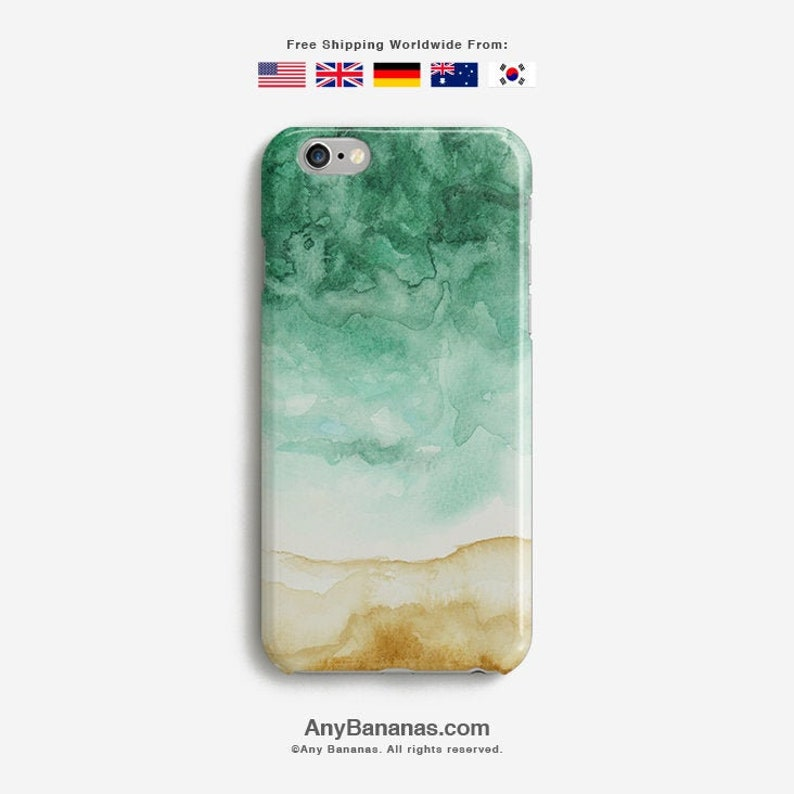 competitive price b4250 386b8 Sea Phone Case iPhone X 8 7 6s XS Tough 6s Plus X Max SE Samsung Galaxy S9  S10 Marine Green Handmade Gift Sand Water Paint Beach Watercolor