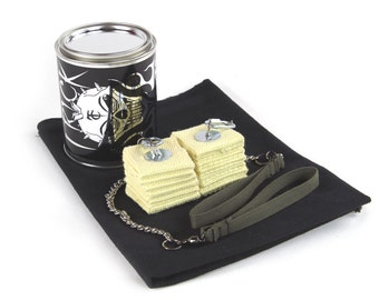 """Cathedral Fire Poi (Pair), 2"""" With Kevlar Wick, Quart Dip Can and Fire Blanket - Trick Concepts"""