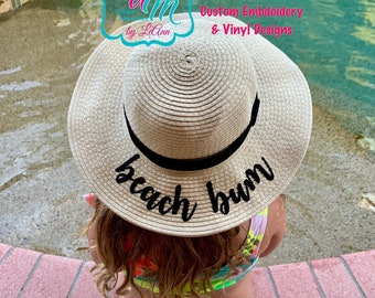 88322dc15cadaf Girls, Child, Baby, Beach Bum Floppy Sun Hat, Sun hat, Embroidered floppy  hat, Beach Hat, Straw Beach Hat, Floppy Beach Hat, Vacation hat