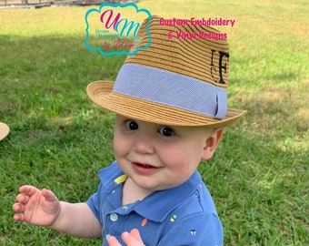 d7c5971b Baby, Infant, Toddler Fedora staw Beach Hat Personalized w/FREE  Name/Monogram, Baby Sun hat, Embroidered hat, Beach Hat, Straw Beach Hat