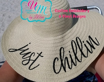 Happily Ever After Embroidered floppy Beach Hat Personalized  a54487b37788