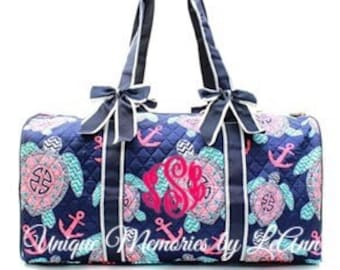 Turtle duffle bag quilted w/detachable bows, zippered closure with FREE Monogram or Name - Nautical Duffle bag, Anchors, Travel, weekend bag