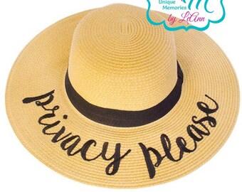 00768471831 Hello Sunshine floppy Beach Hat Personalized Straw Hat Sun