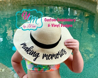 e95a3490a30205 Girls, Child, Baby, Making Memories Beach Hat, Sun hat, Embroidered floppy  hat, Beach Hat, Straw Beach Hat, Floppy Beach Hat, Vacation hat