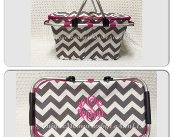Chevron insulated Picnic Basket FREE Monogram or Name -Great for Brides, Birthdays, Housewarming, Christmas, Tailgating, Beach, Boating