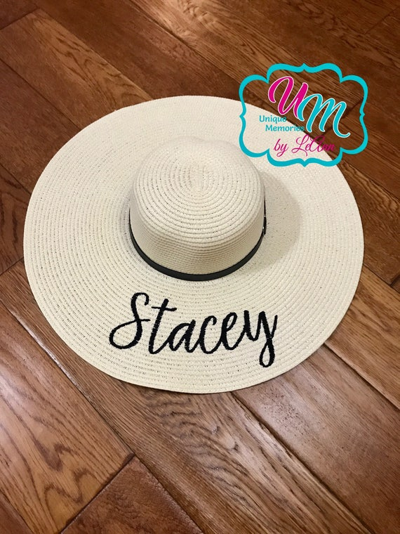 """CUSTOM """"YOUR NAME"""" floppy Beach Hat, Name Hat, Bride Beach hat, Personalized Floppy Hat, Embroidered floppy hat, Beach Hat, Straw floppy hat"""