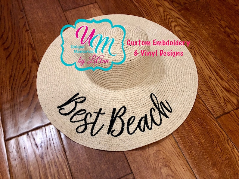 Best Beach Embroidered floppy Beach Hat Personalized Straw  a1788ad4c74