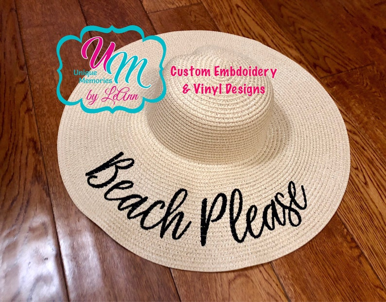 16030323a2839 Beach Please Embroidered floppy Beach Hat Personalized Straw