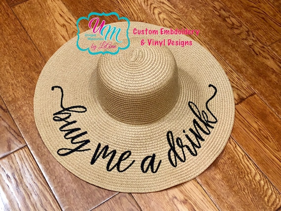 Buy me a Drink floppy Beach Hat Personalized Straw Hat Sun  531b7a745c5