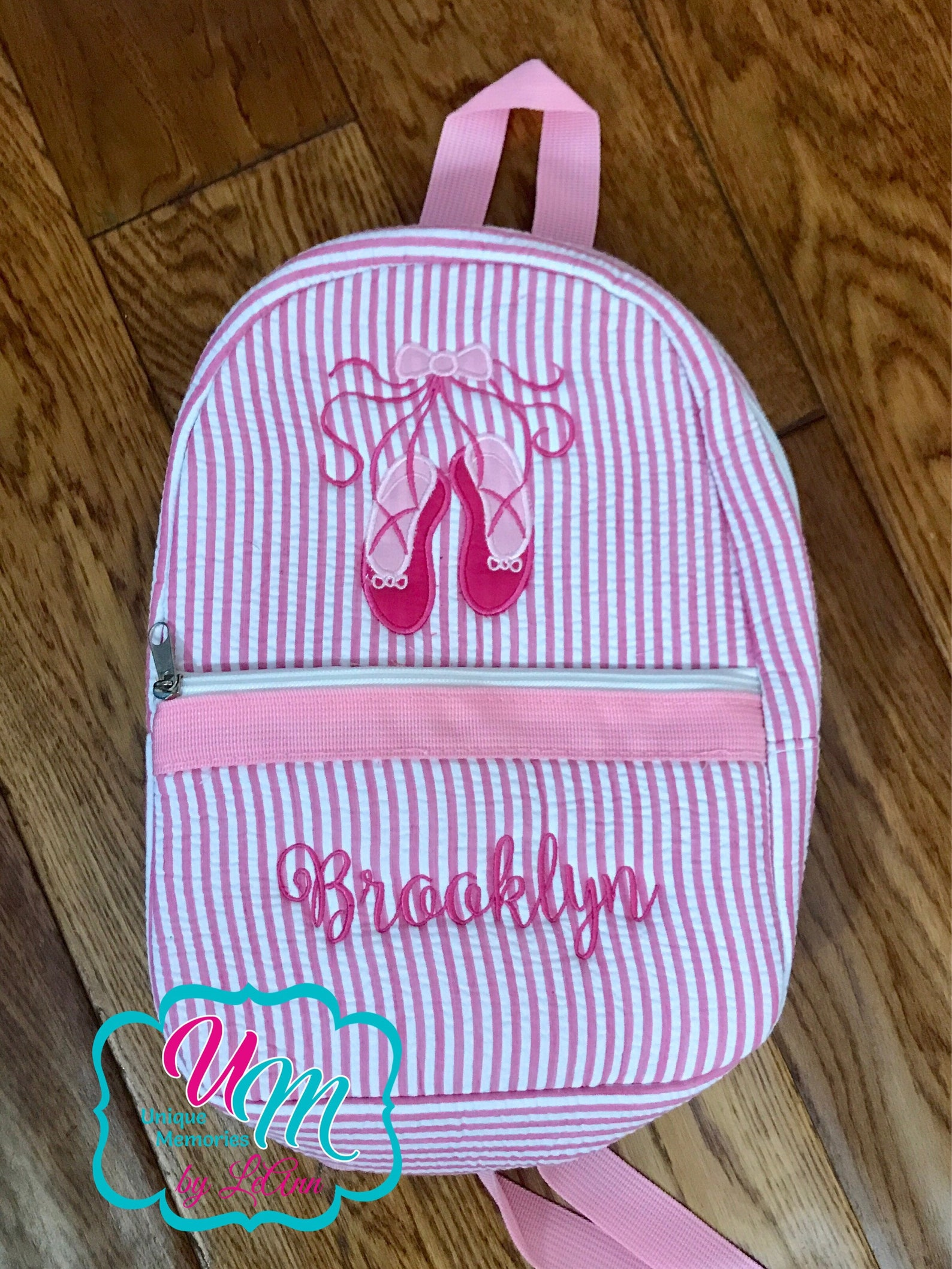 mini seersucker backpack ballet shoes appliqué free name/monogram - school bag, children's backpack, quilted, dance bag, min