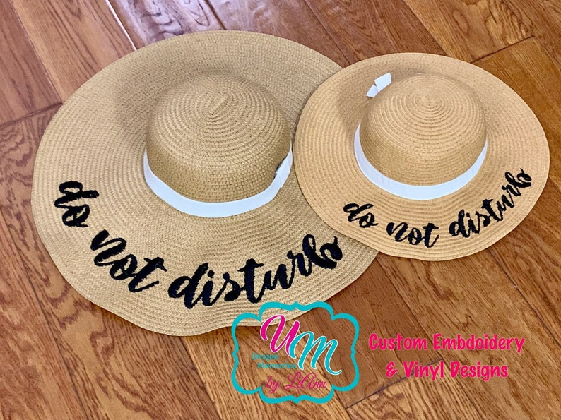 4b8e1bfb52d Do not Disturb floppy Beach Hat set, Mommy and Me matching Floppy Beach Hat  Set, Sun hat, Embroidered floppy hat, Beach Hat, Straw Beach Hat