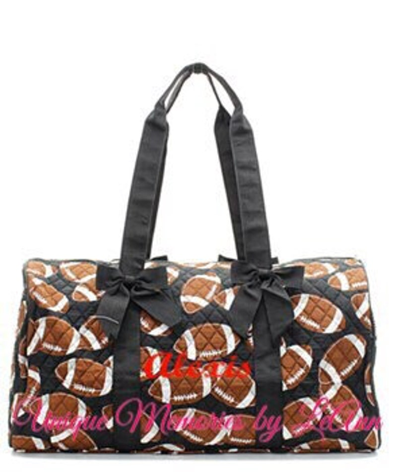 1366db6c1e7d Sports duffle bag quilted w/detachable bows, zippered closure with FREE  Monogram or Name - Travel bag Football, Baseball, Softball, Soccer