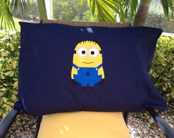 Minion inspired appliquéd pillow case - Custom made - you choose color of Pillow case and 1 or 2 eyed Minion