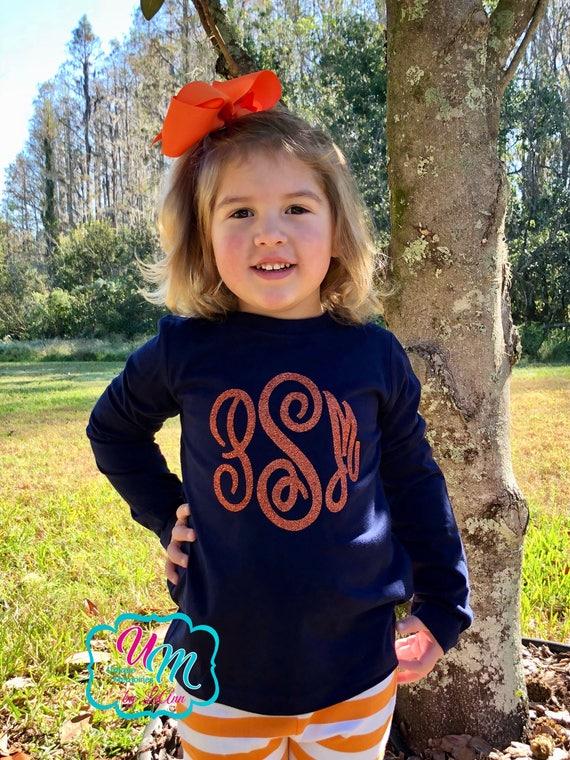 Baby Girl Glitter Monogram Striped Long Sleeve Top Monogrammed Long Sleeve Girl Shirt Monogrammed Toddler Shirt Personalized Name Shirt