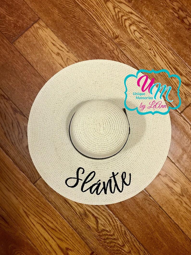 cc5ba283 Slante cheers floppy Beach Hat Personalized Straw | Etsy