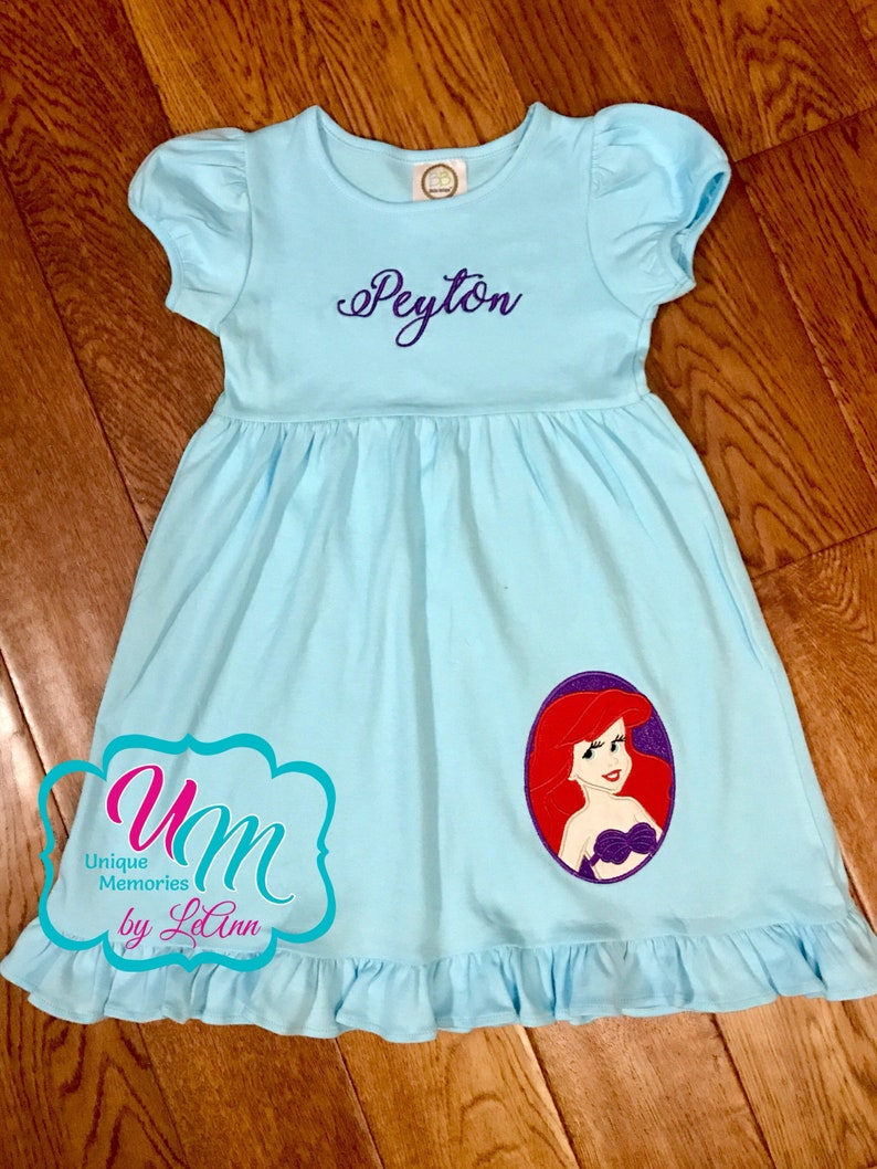 Ariel Dress Princess Dress Little Mermaid Dress Princess Ariel inspired appliqu\u00e9 Ruffle dress FREE nameMonogram Disney Princess Dress