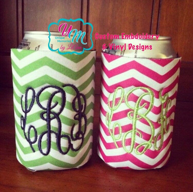 Chevron Personalized embroidered insulated can cooler insulated drink holder Insulated Can Hugger Monogrammed hugger beer huggie