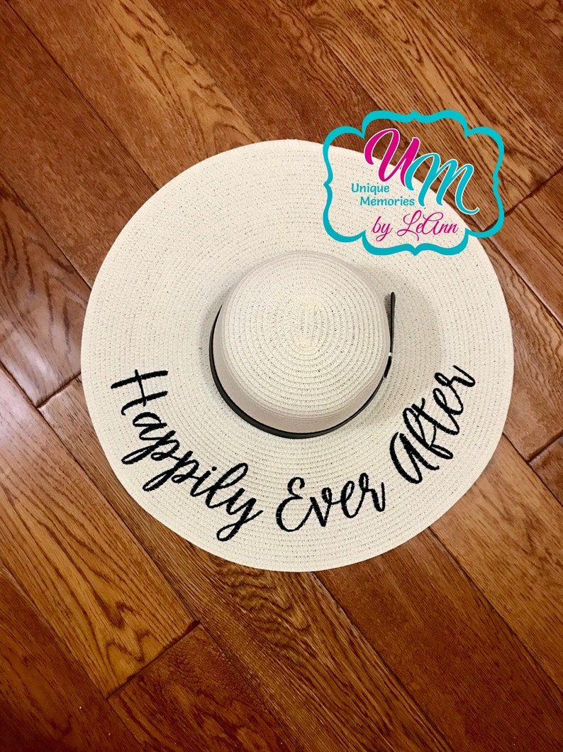 f919f705d Happily Ever After Embroidered floppy Beach Hat, Personalized Straw Hat,  Sun hat, Floppy hat, Beach Hat, Straw floppy Beach Hat, Honeymoon