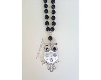Owl Crystal Necklace, Statement Necklace, Crystal Necklace, Long Boho Necklace, Bohemian , Black Necklace, Gothic, gifts for her