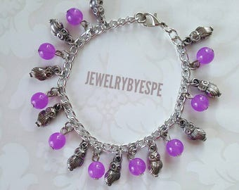 Owl Bracelet, Purple Bracelet, Charm Bracelet, Silver, Bohemian, Gypsy, Statement, Victorian, Gothic,best friend gift