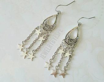 Silver Star Earrings, Dangle Earrings, Long  Boho Earrings, Bohemian Earrings, Gypsy Earrings, Statement Earrings, Tribal fantasy stars