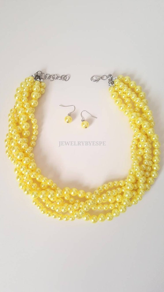 Necklaces For Women Yellow Chunky Pearl Necklace Statement Etsy