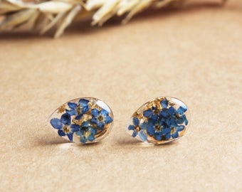 19c6d6fb9 Blue Forget-Me-Not Stud Earrings with Gold Flakes - Nature Inspired Jewelry  - Thanksgiving Day Gift