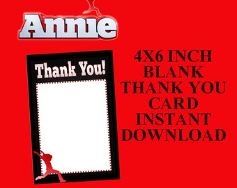 Annie 4x6 Printable Thank You Card, Instant Download