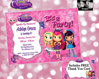 LITTLE CHARMERS, PERSONALIZED, Birthday Printable Invitation, Nick Jr, Magic, Invite, with or without photo