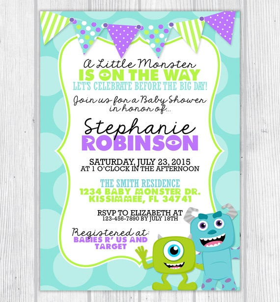 Monsters Inc Inspired Baby Showere Invitation