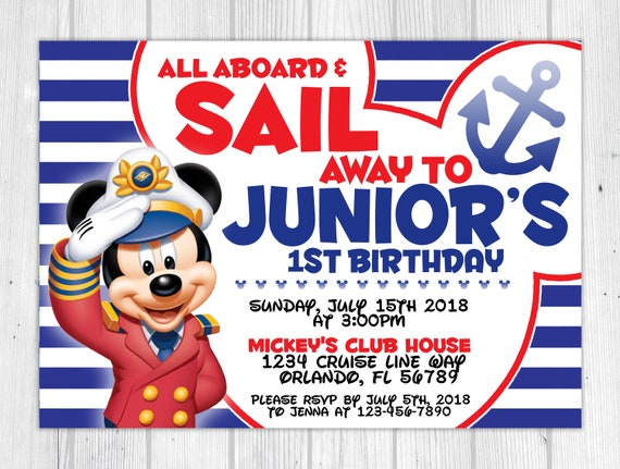 image about Mickey Mouse Printable Birthday Invitations known as Nautical Mickey Mouse Encouraged Printable Birthday Invitation