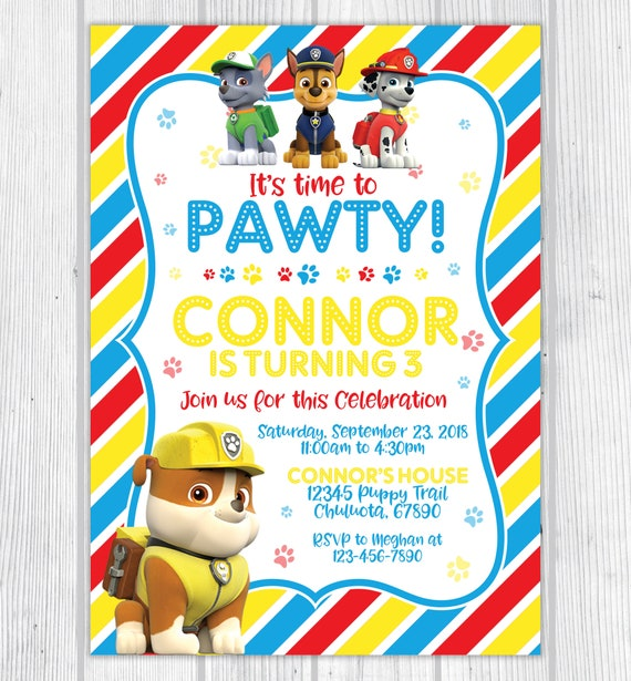 Rubble Marshall And Chase From Paw Patrol Printable Birthday