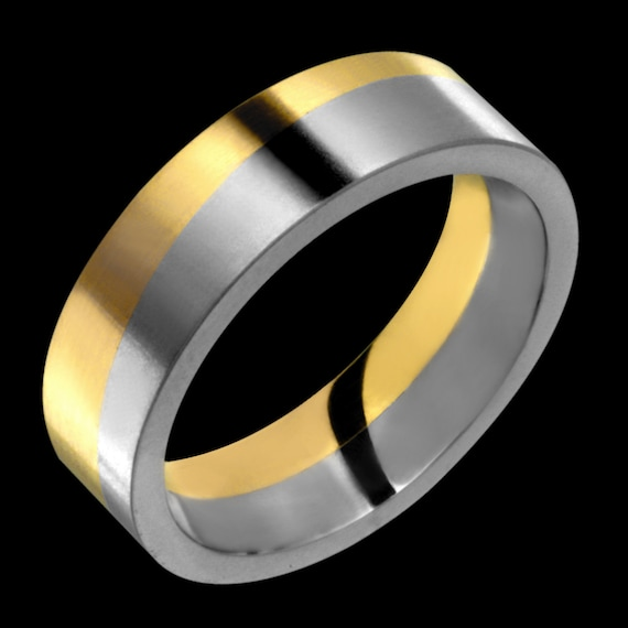 Titanium Wedding Ring 14k Yellow Gold Inlay 6mm Titanium Band