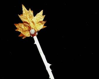 Magic Wand Rosebranch Wood with Autumn Leaf
