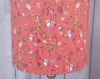 Little Field Mice On Salmon Pink Drum Shaped Lamp Shade.