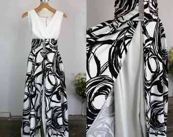 Vintage 1960s 1970s Hostess Jumpsuit With Belt / Full Length Dress With Palazzo Pants / Black And White Mod Print / Rhinestone