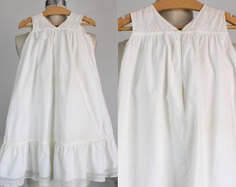 Vintage 1910s Babys White Cotton Christening Dress / Embroidered Homemade Smock / Baptism Dress / Little Girls Fancy Dress / Lace Trim