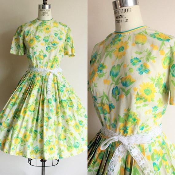 Vintage 1950s 1960s Dress / Green, Yellow, Blue Fl
