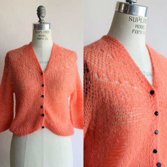 Vintage 1960s 1970s Sweater / Orange Mohair Cardig
