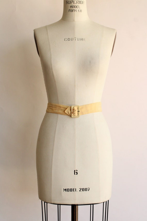 Vintage 1940s Belt / Silk With Fabric Covered Buc… - image 2