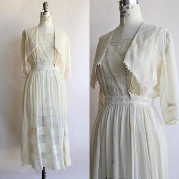 Vintage 1910s Edwardian Dress in Ivory Cotton Lawn