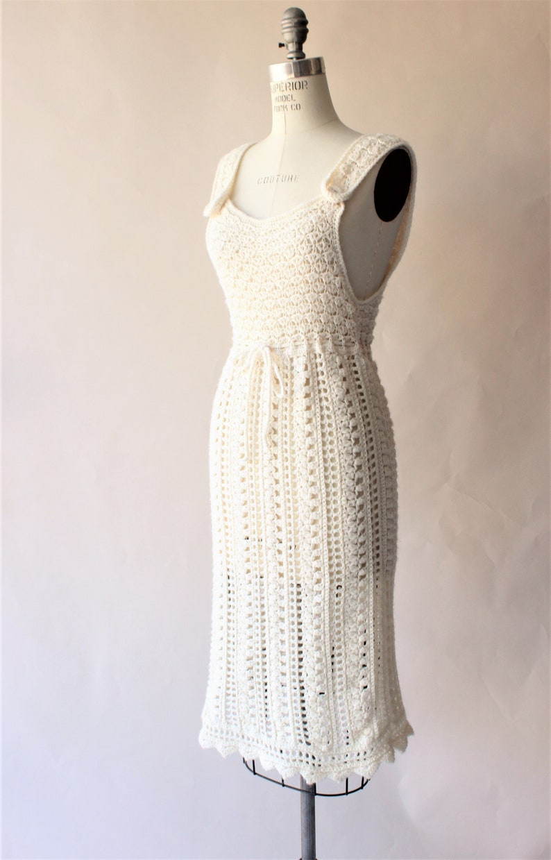 Vintage 1960s Dress  Ivory Knit Or Crochet Sheath Sweater Dress with Drawstring Waist