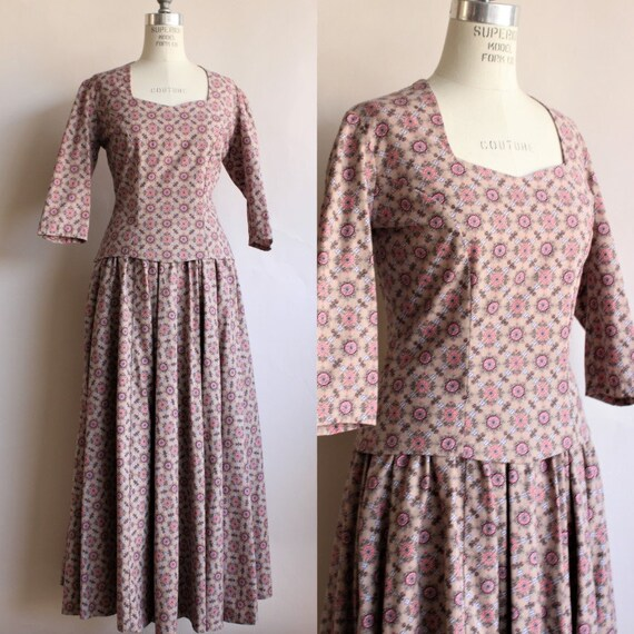 Vintage 1970s Victorian Day Dress ( Skirt and Top)