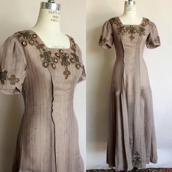 Vintage Antique 1910s Dress / Edwardian Taupe Brow